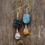 Labradorite Oval with pendant Drop Earrings