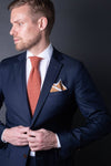 Copper-Orange-cotton-knitted-tie-with-square-tip-made-in-italy-combo-matching-pocket-square