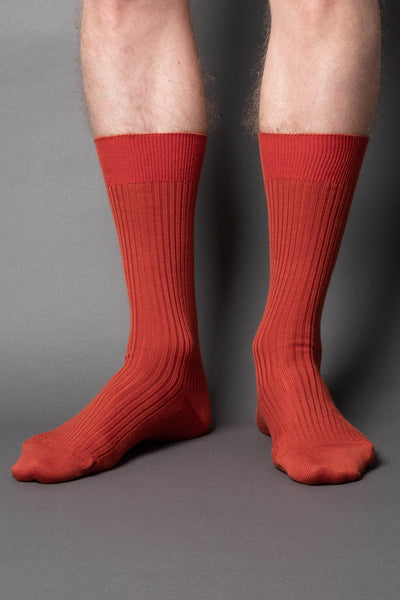 once a day-wool-dress-socks-colors-made-in-japan-premium-orange-copper