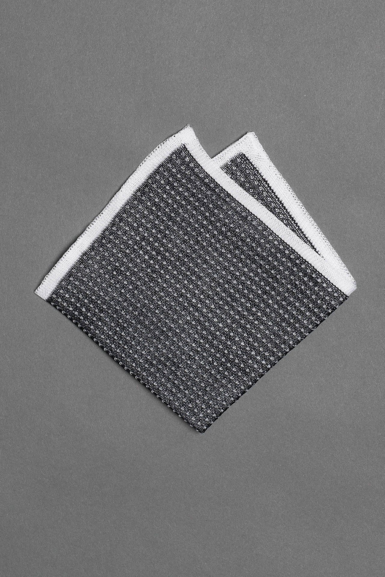 cotton-knitted-pocket-square-gray-with-white-frame-and-dots-made-in-italy