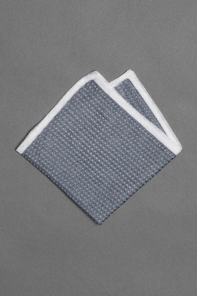 cotton-knitted-pocket-square-blue-with-white-frame-and-dots-made-in-italy