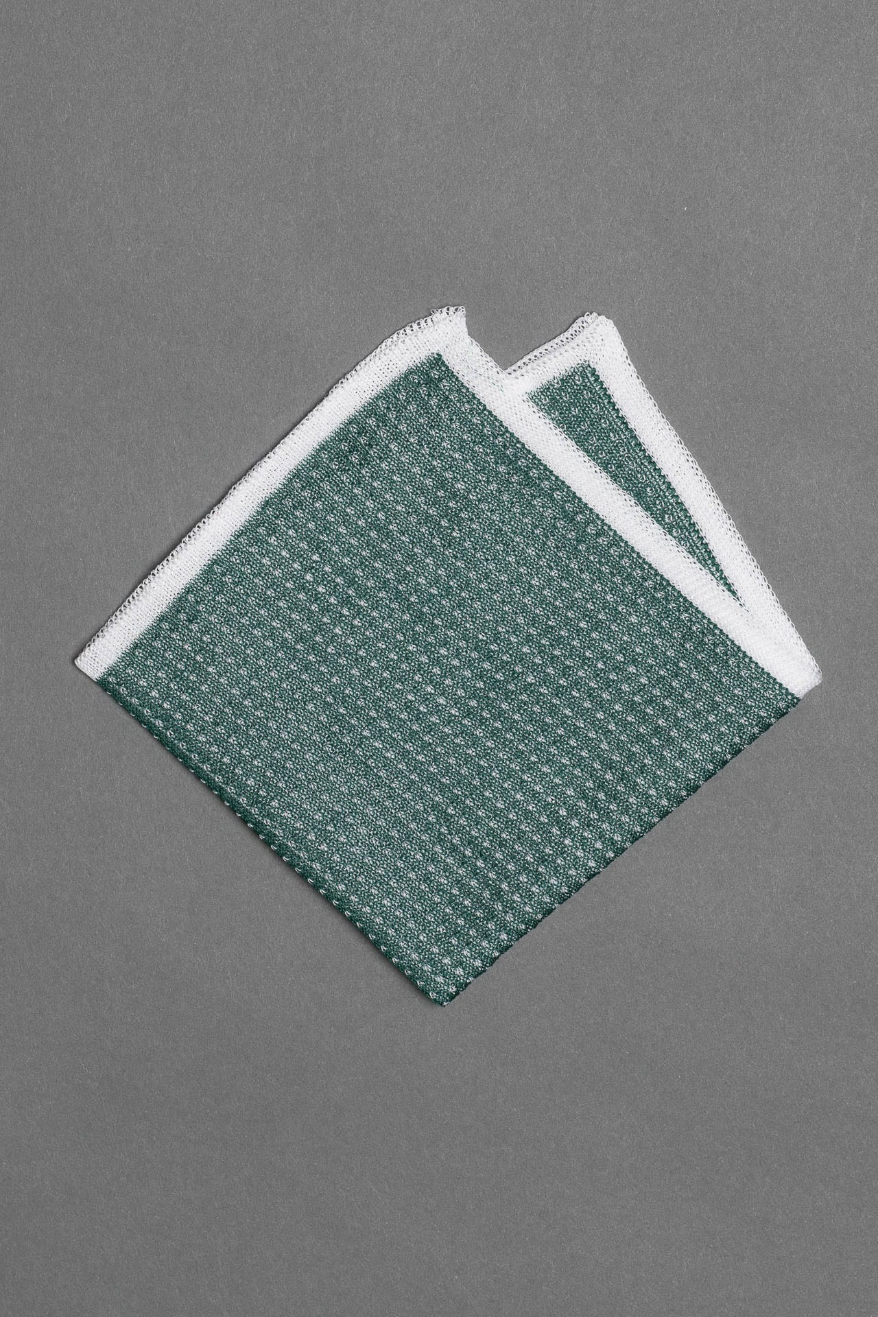 cotton-knitted-pocket-square-green-with-white-frame-and-dots-made-in-italy