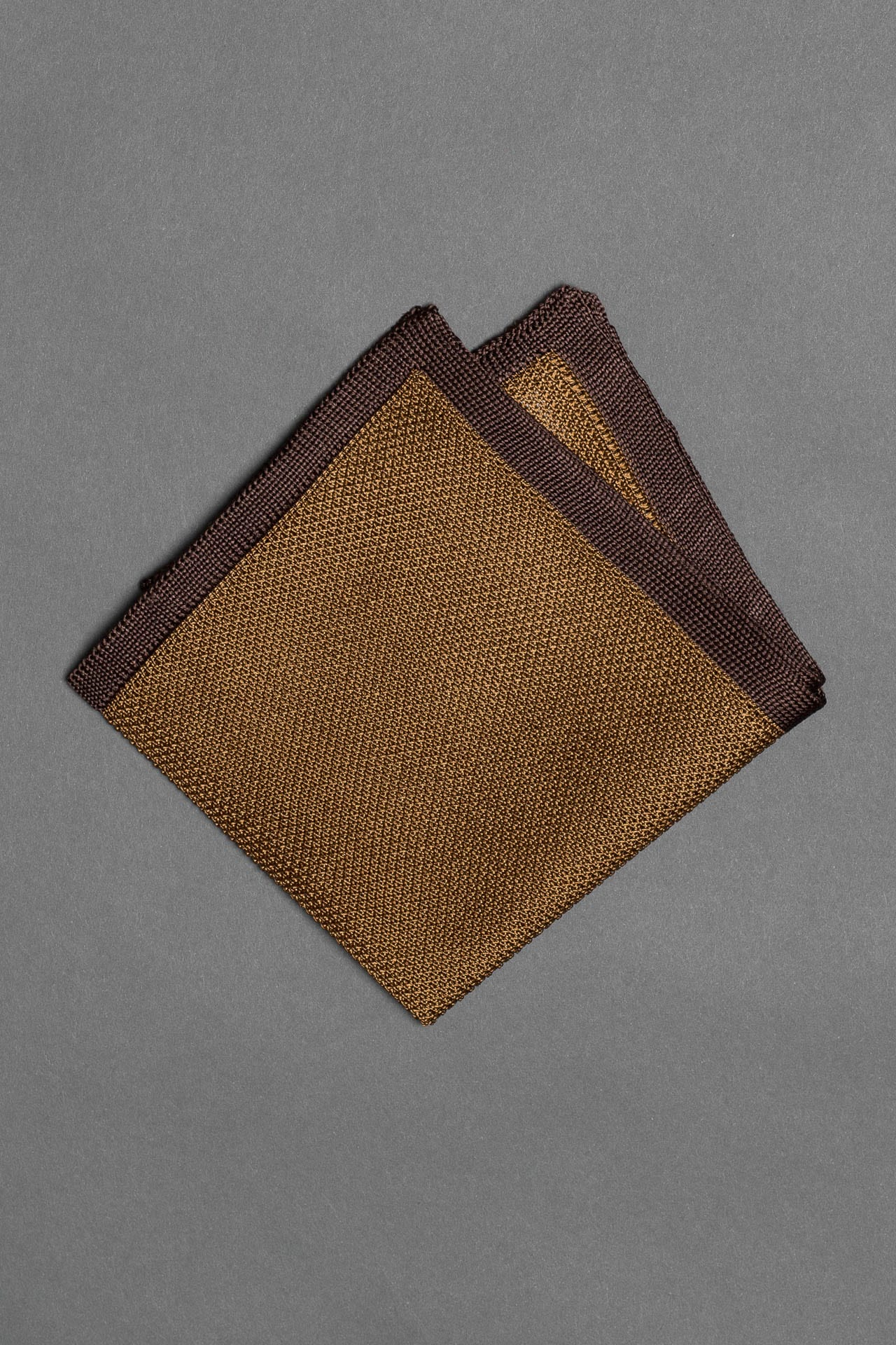 silk-knitted-pocket-square-brown-with-dark-brown-frame-made-in-italy
