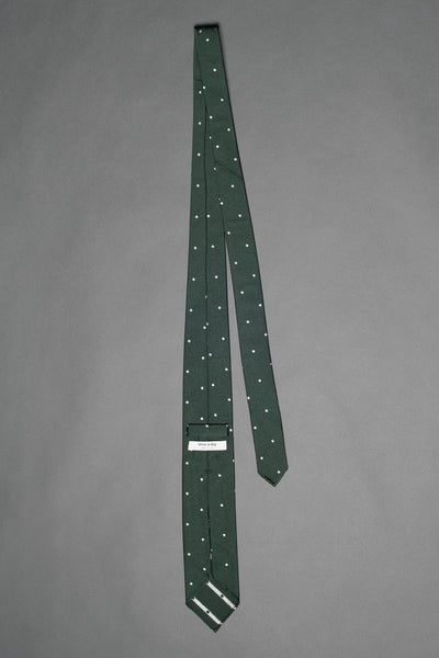 7-fold-forest-green-polka-dot-silk-woven-tie-with-pointed-hand-tip-made-in-italy