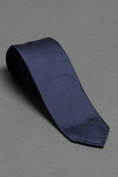 3-fold-blue-silk-woven-tie-with-pointed-hand-rolled-untipped-made-in-italy