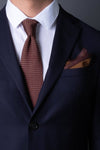 Brown-silk-knitted-tie-with-pointed-tip-made-in-italy-combo-matching-pocket-square