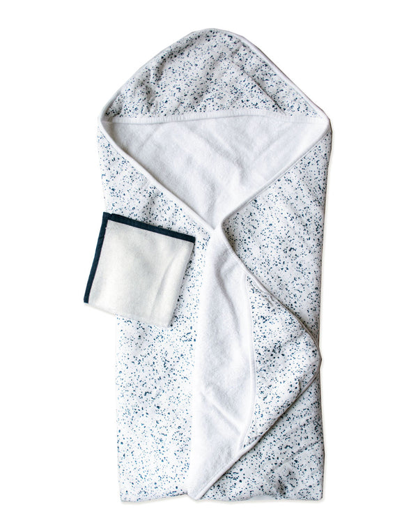 BLUE SPECKLED | Hooded Towel + Washcloth Set
