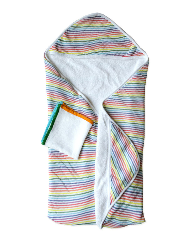 RAINBOW STRIPE | Hooded Towel + Washcloth Set