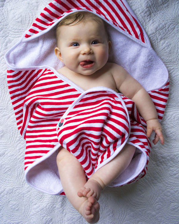 CANDI STRIPE | Muslin Hooded Towel + Washcloth Set