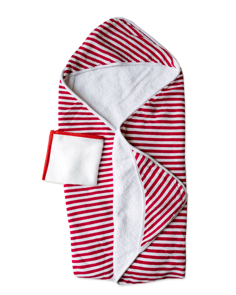 CANDI STRIPE | Hooded Towel + Washcloth Set