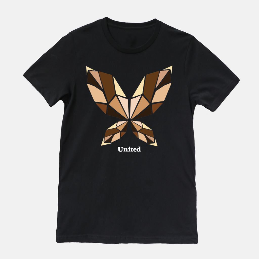 UNITED BUTTERFLY (bold text) | Adult T-shirt
