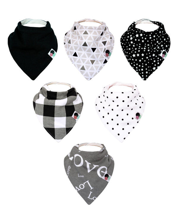 SHADOW | Premium Plus Baby Bandana Bibs (6-pack)