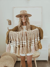 Load image into Gallery viewer, brown and white wooden bead tassel