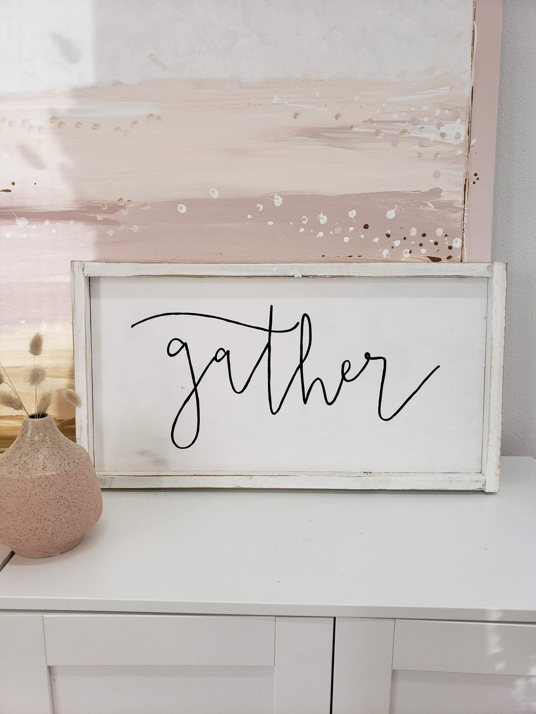 gather wooden sign