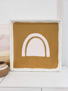 abstract arch wooden sign