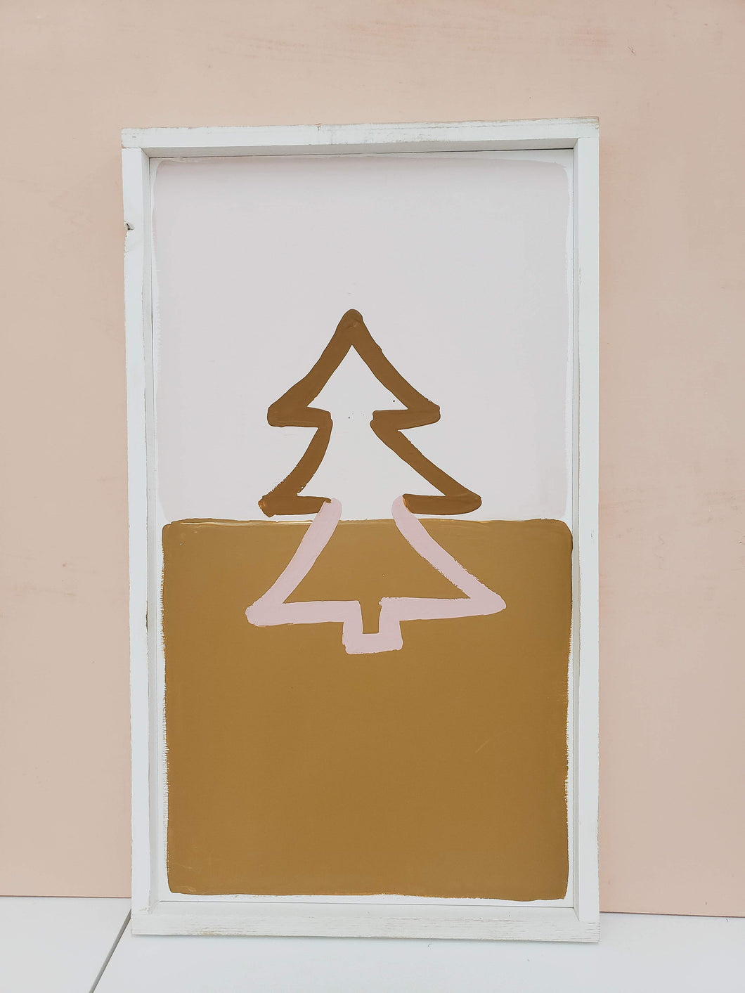 mustard and pink tree wooden sign