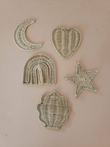 set of 5 rattan wall hangings