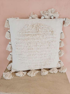 fringe and tassel pillow