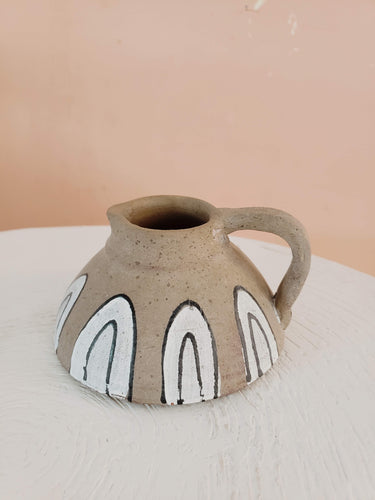 black and white hand painted pitcher