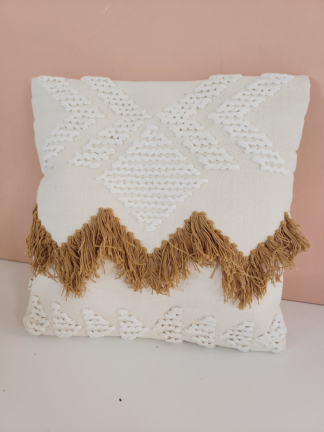 fringe pillow white and tan