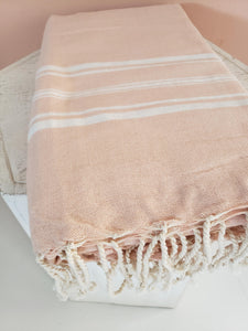 pink striped throw