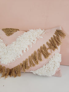 tan and blush fringe pillow cover