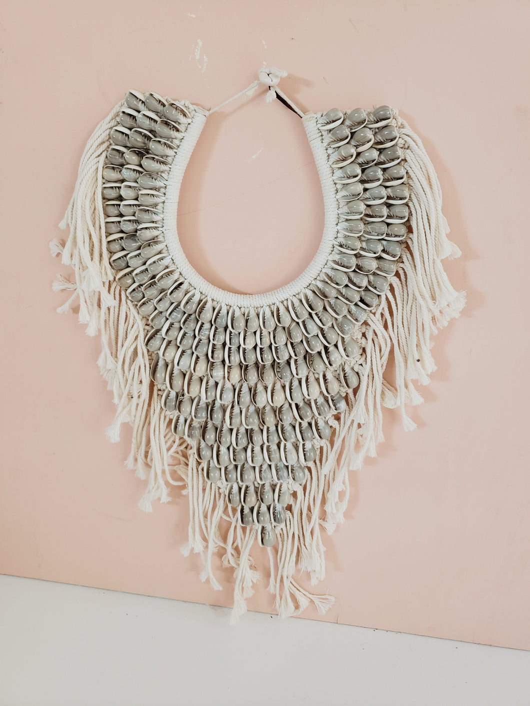 macrame shell necklace wall hanging