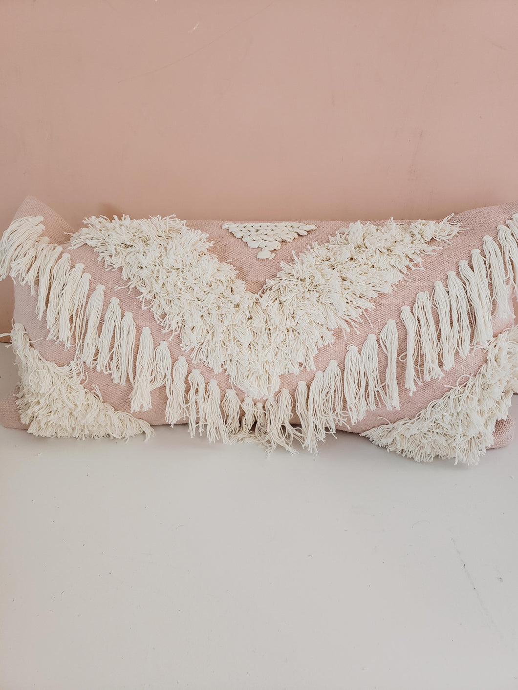 blush fringe pillow cover