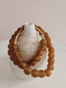 large amber sea glass beads