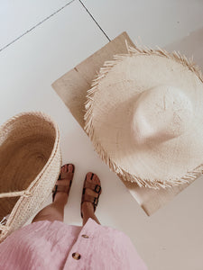 woven palm hat