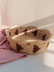 brown and pink wave woven bowl
