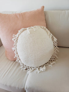 circle fringe pillow