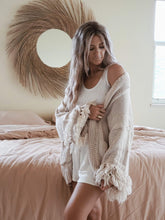 Load image into Gallery viewer, taupe fringe cardigan