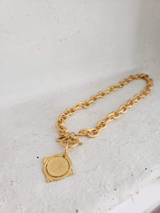 Hand cast gold intagliolio coin front toggle necklace