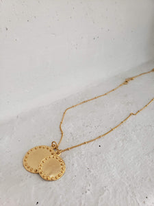 Gold double circle with dots chain necklace