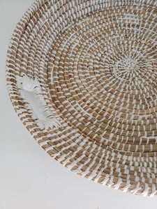 large sea grass basket with handles