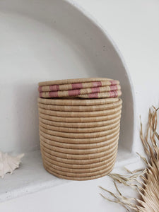 large pink sea grass canister