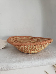 mini peach woven bowl