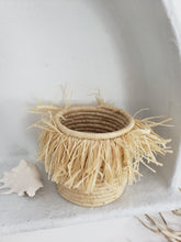 Load image into Gallery viewer, small raffia fringe basket