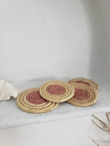woven pink coasters set of 4