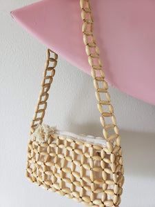 wood bead purse