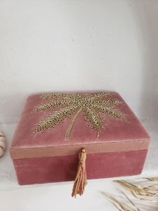 velvet palm tree jewelry box