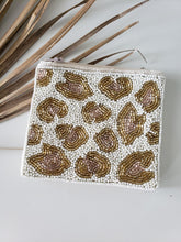 Load image into Gallery viewer, beaded leopard print pouch