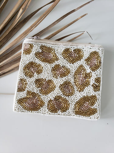 beaded leopard print pouch
