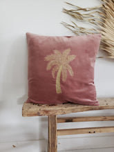 Load image into Gallery viewer, velvet palm tree pillow cover