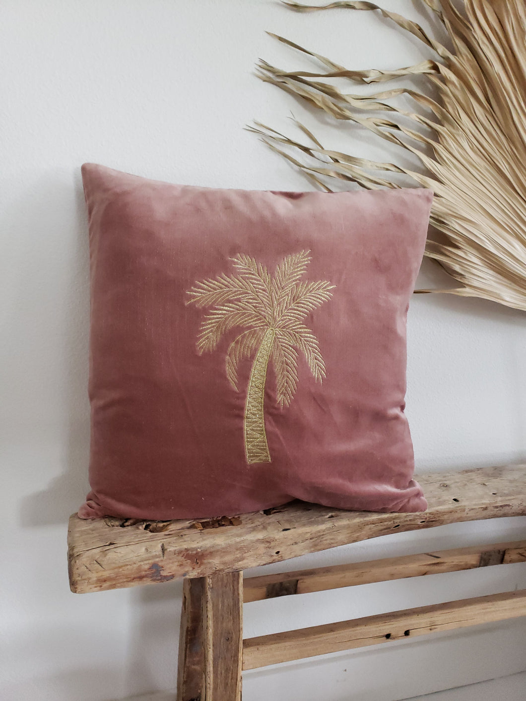 velvet palm tree pillow cover