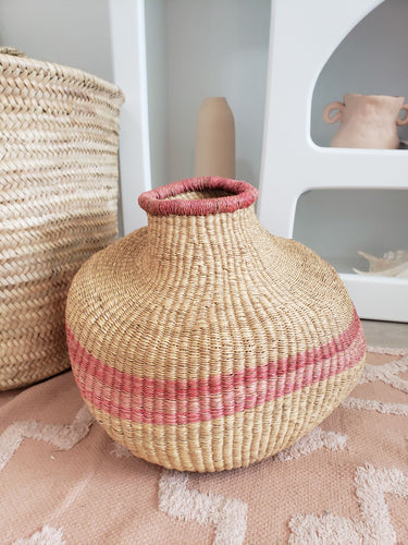 pink woven belly vase