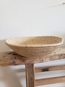 medium pink patterned woven bowl