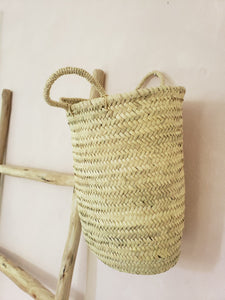 straw bucket bag with handles