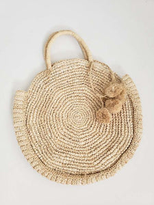 round straw tote with poms